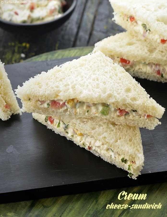 cold cream cheese sandwich  veg cream cheese sandwich   cream cheese sandwich recipe
