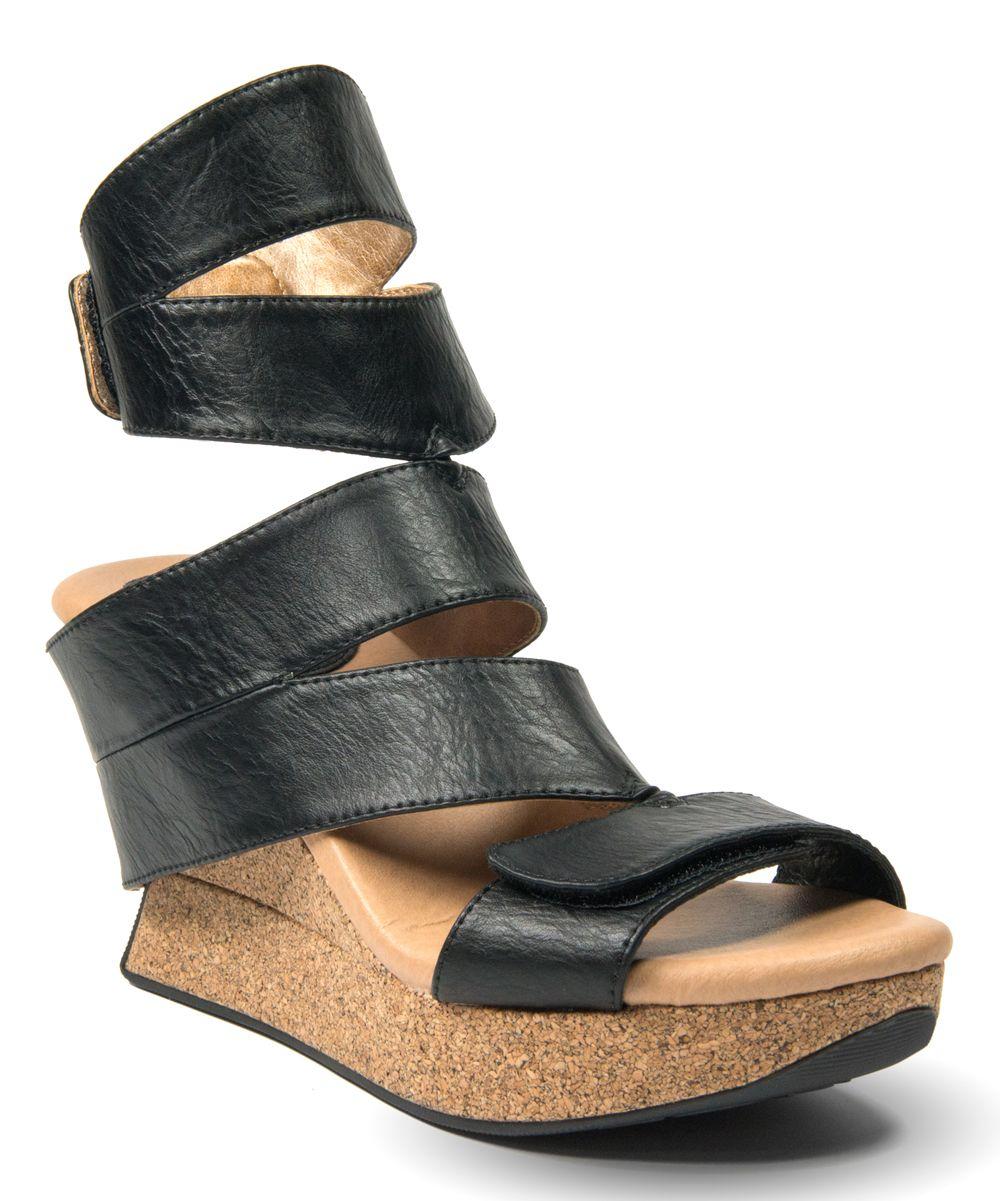 1469d98cef67 Black   Tan Reversible Karma Wedge Sandal