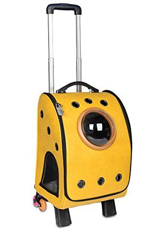0378d387da Petkuguo Foldable Detachable Airport Pet Carrier with Removable Wheels  Travel Leather Rolling Carrier for Dogs/Cats, Yellow