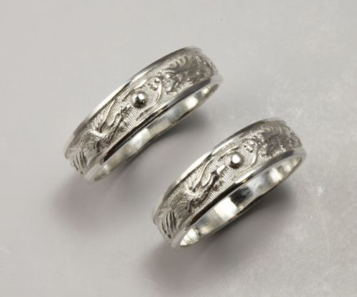 2 Sterling Silver Dragon Phoenix Rings Wedding Band Set