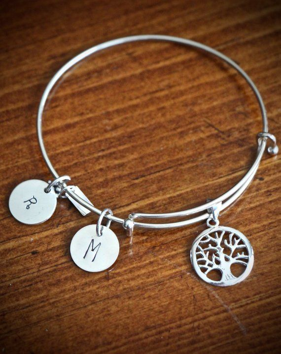 ae4647668423 Family Tree Bracelet- Tree of Life- Personalized Charm Bracelet- Initial  Jewelry- Mothers Gift- Gran