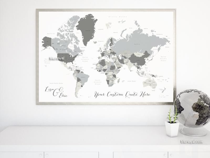 Personalized map print gray world map with countries and states personalized map print gray world map with countries and states concrete hues gumiabroncs Image collections