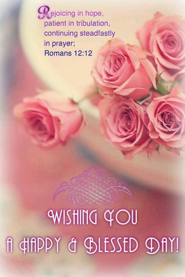Romans 12:12 wishing you a happy blessed day | Bible | Christian