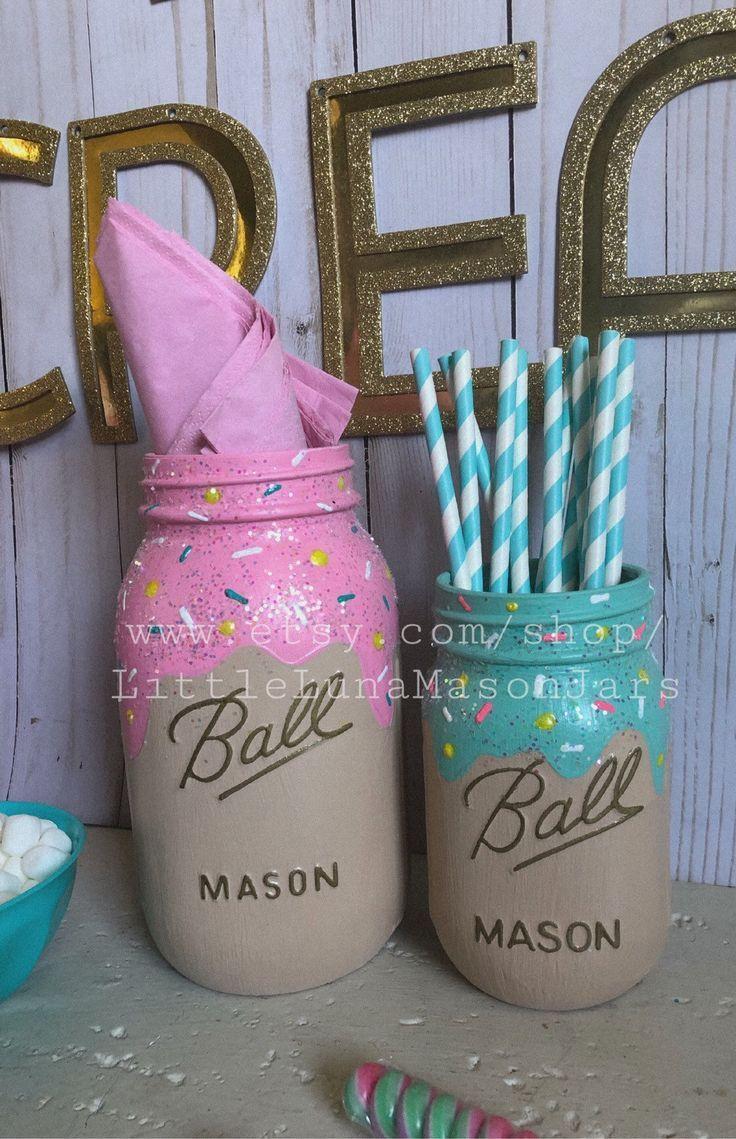#1st #birthday #Centerpiece #Cream #Decorations #Ice #Jars #MASON #Party #quart #set #Size #Sweet #Theme #themed