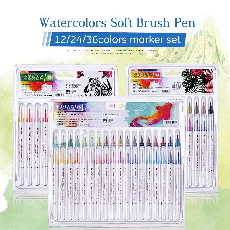 Sta 12 24 36 Colors Soft Brush Pen Set Best Durable Watercolor Pen
