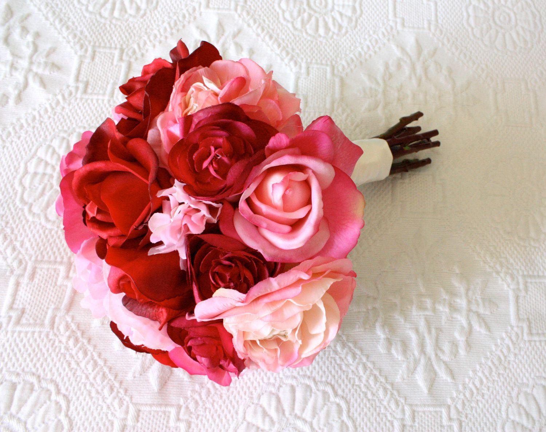 Roses Ranunculus Peonies Wedding Bouquet In Light Pink Hot Pink