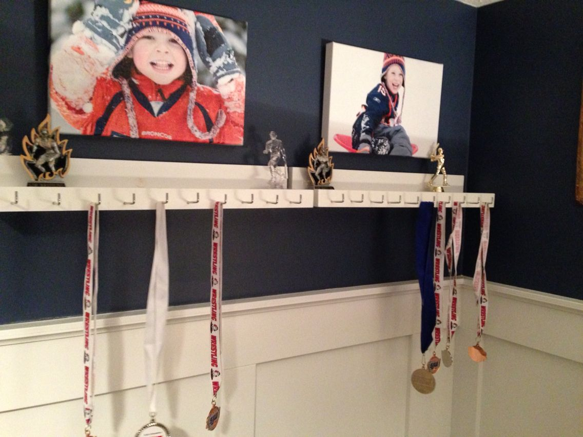 Medal And Trophy Display For The Boys Room   Finally After A Year Of  Talking About