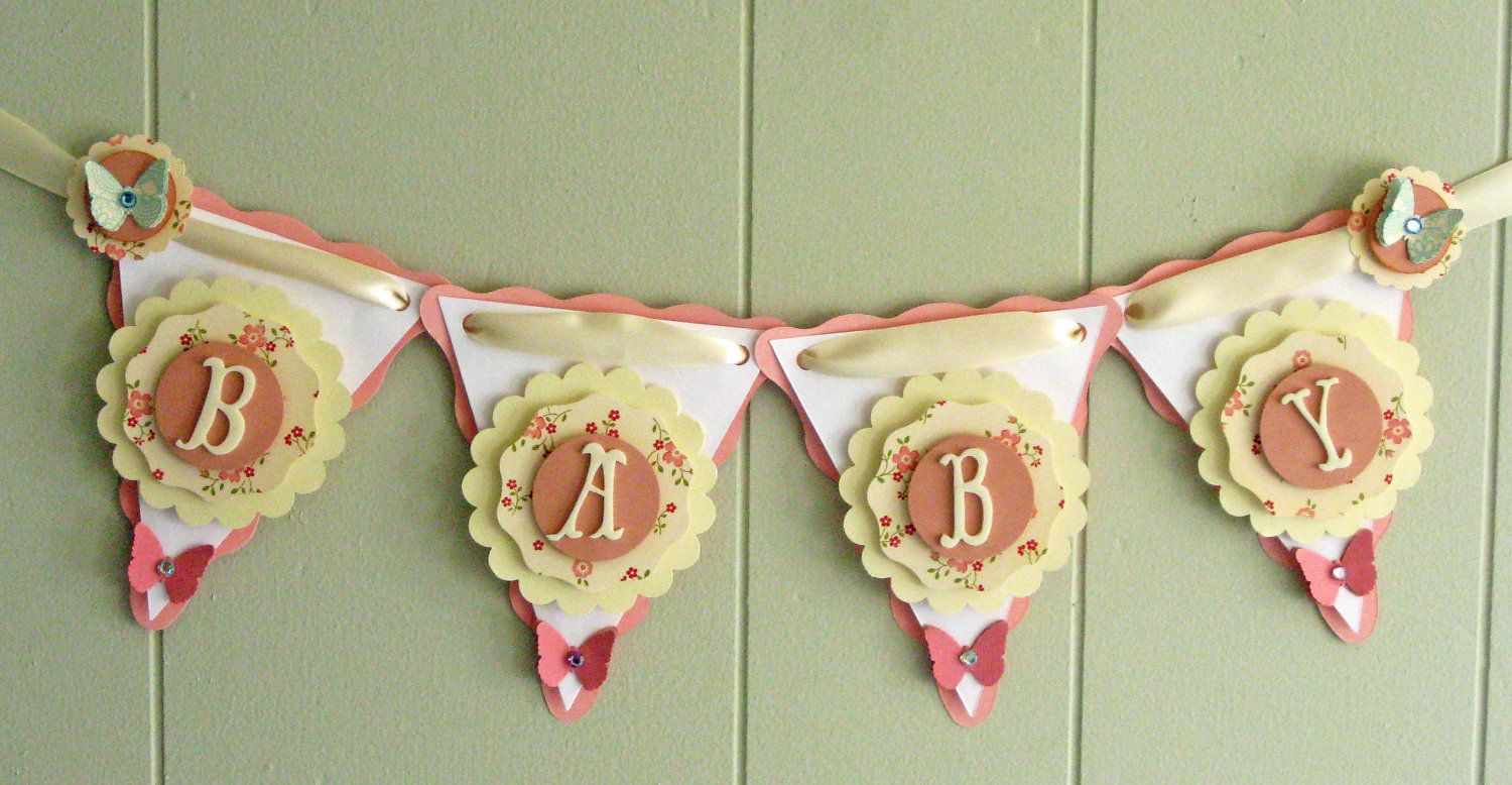 Vintage Baby Shower Decoration Baby Banner Girl Baby Shower Banner Vintage Style Baby Shower