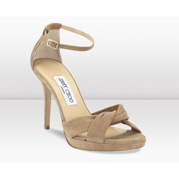 Jimmy Choo Marion Nude Suede Sandals (226.010 HUF) ❤ liked on Polyvore