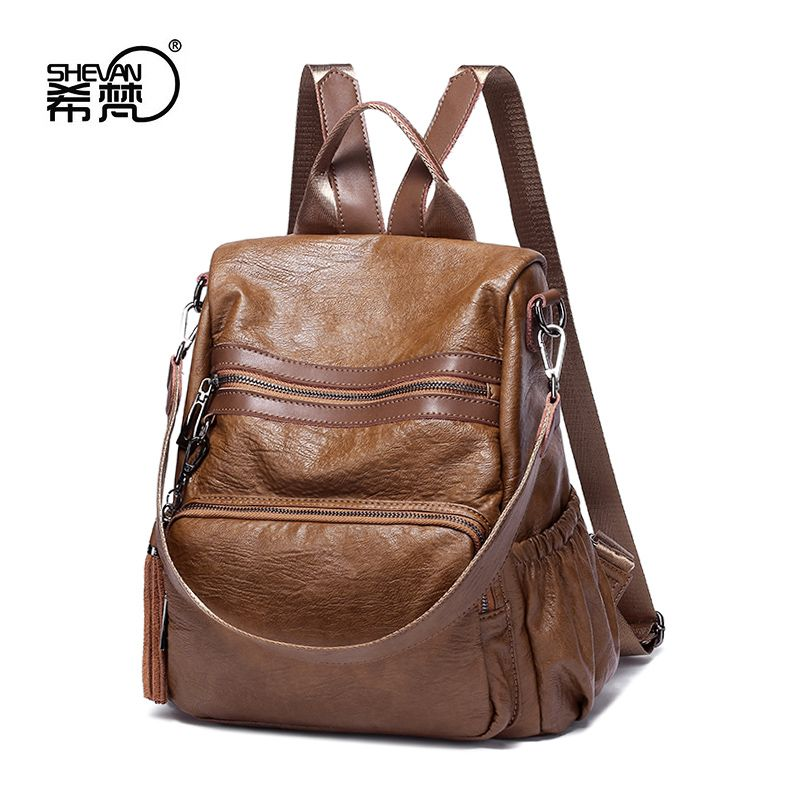 17092cc7c50c Anti-theft backpack women Korean version 2017 new tide wild leather  handbags leather multi-functional soft leather backpack