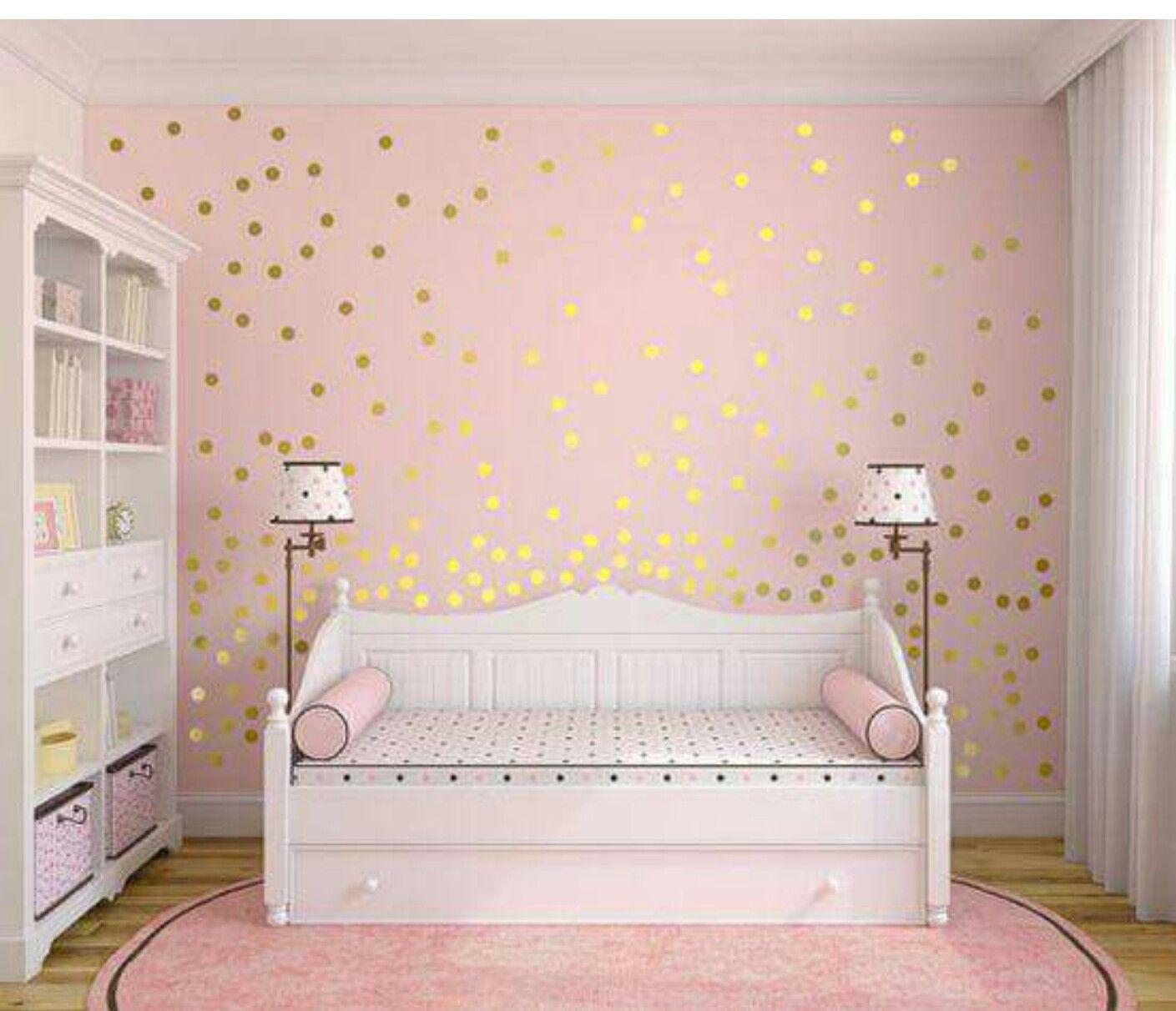 Golden Dots Girl Room Gold Wall Decals Polka Dot Wall Decor
