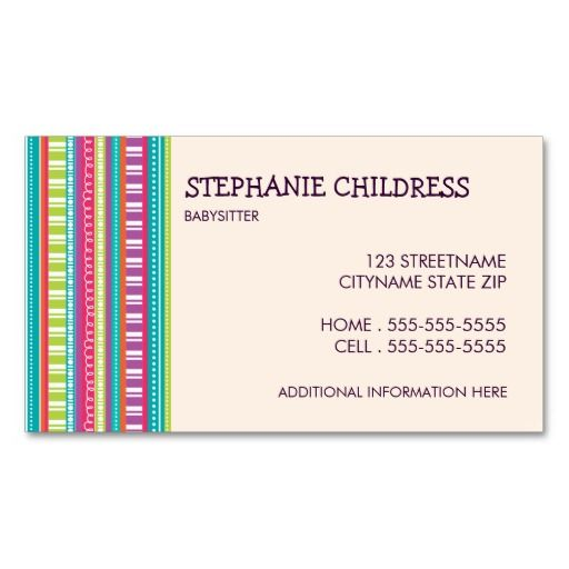 Colorful stripes babysitting business card teacher business colorful stripes babysitting business card reheart Gallery