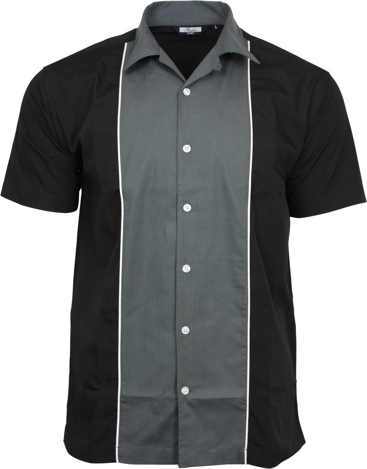 men/'s rockabilly clothing 1950s vintage online bowling shirts black white club