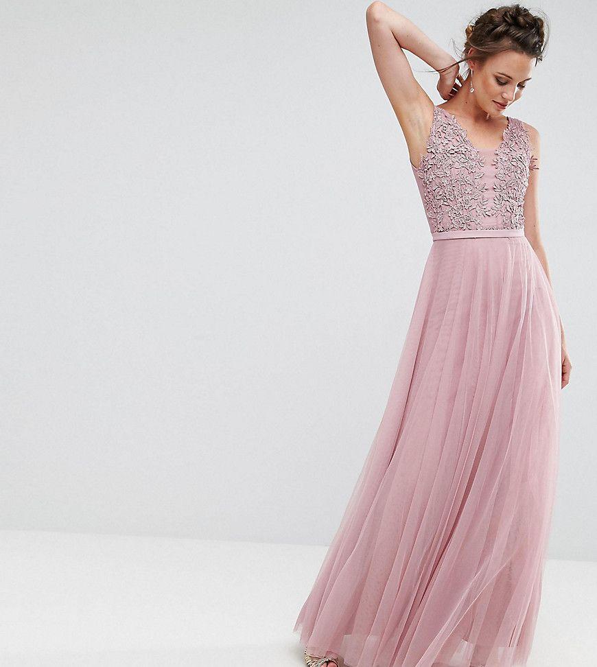 Little Mistress Tall Floral Applique Top Maxi Prom Dress - Pink