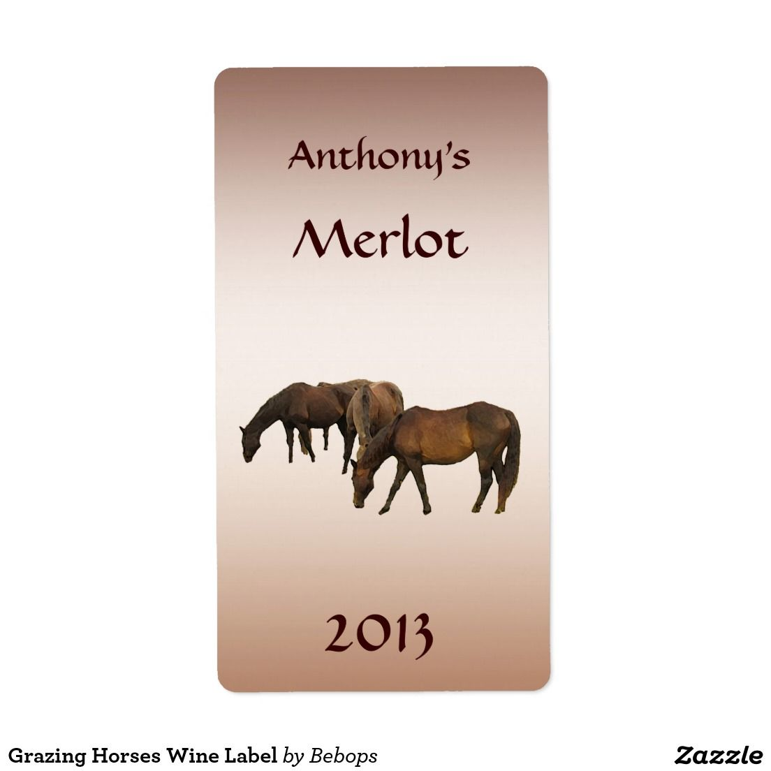 Grazing Horses Wine Label Shipping Label
