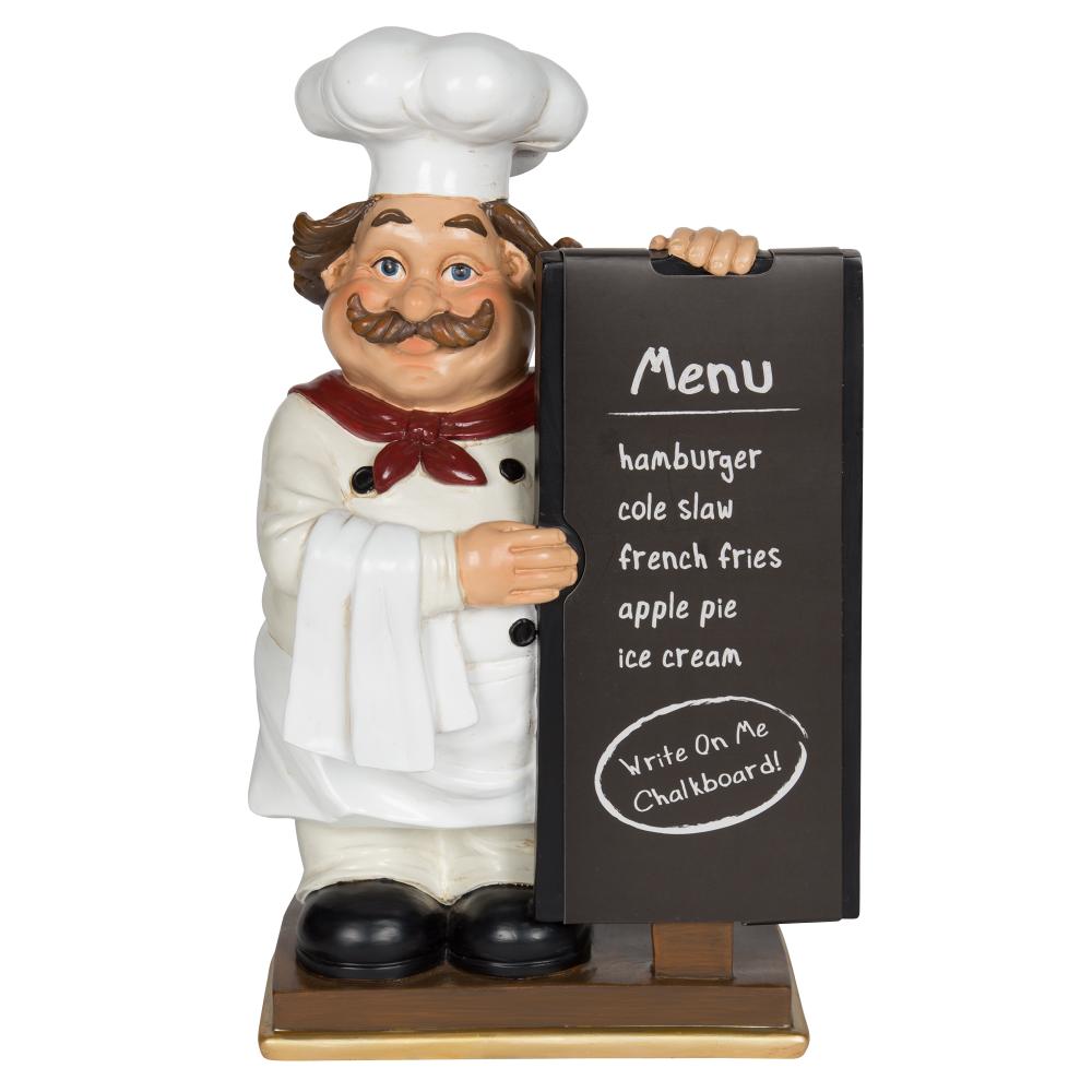 Mainstays Tabletop Resin Chef Figurine With Chalkboard Message Board Walmart Com Mainstays Chalkboard Chef Kitchen Decor