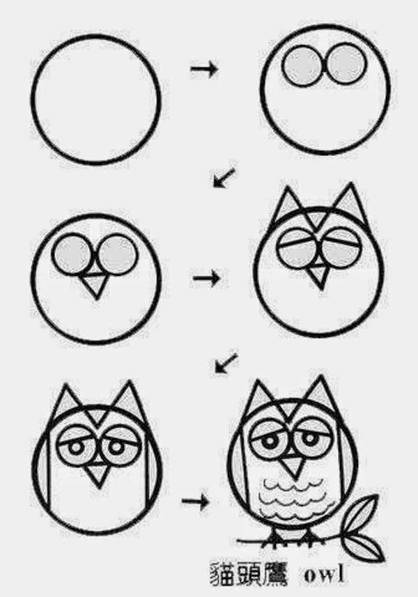30秒学会 100副简笔画 让你孩子3天变成小画家 Owls Drawing Art Drawings For Kids Cute Easy Drawings