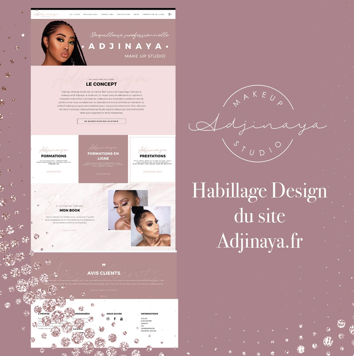 Webdesign Adjinaya Feminin Creation De Site Make Up Studio Webdesigner Freelance Site Internet