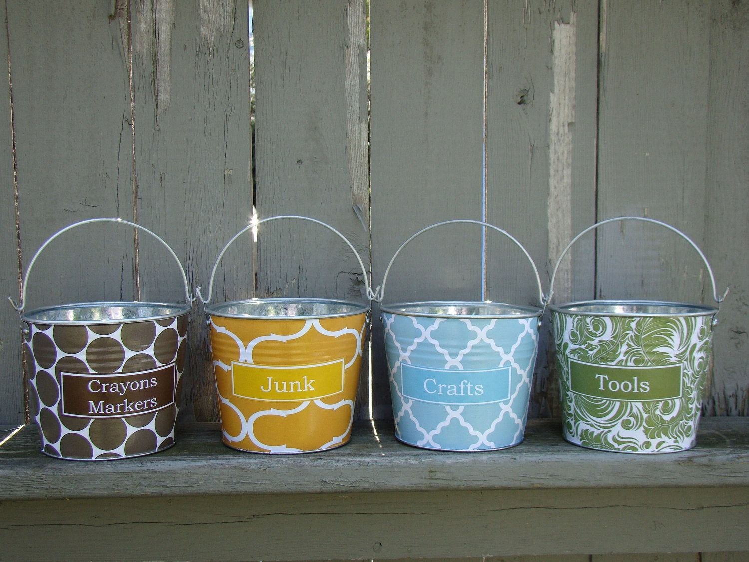 Design your own personalized pail small darla galvanized for Galvanized metal buckets small