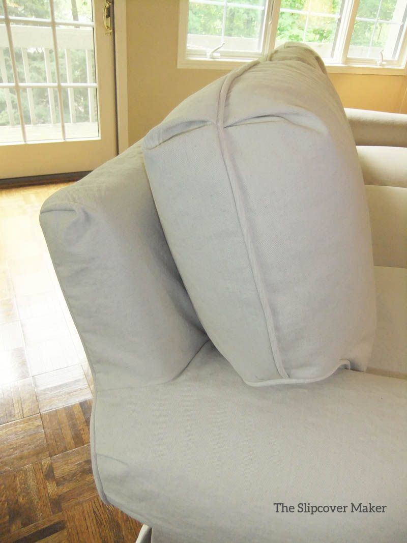 heavyweight linen slipcover custom made for a sherrill sofa love a classic sherrill sofa gets an update with a custom made slipcover in natural denim