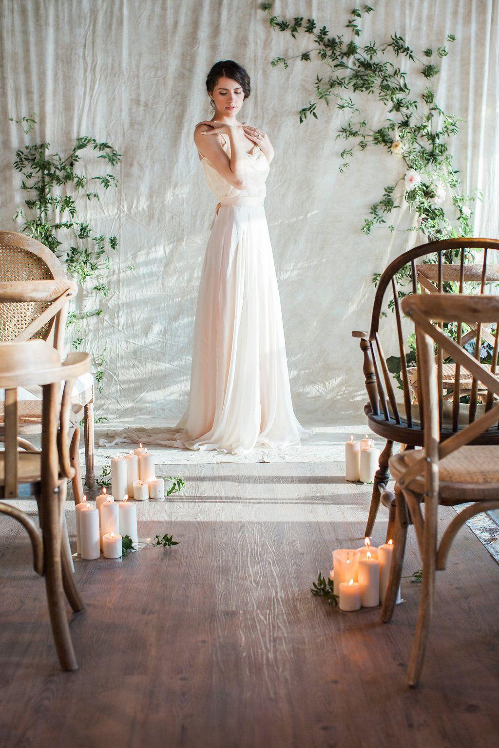 Ellie silk two piece bohemian wedding dress by house of moirai