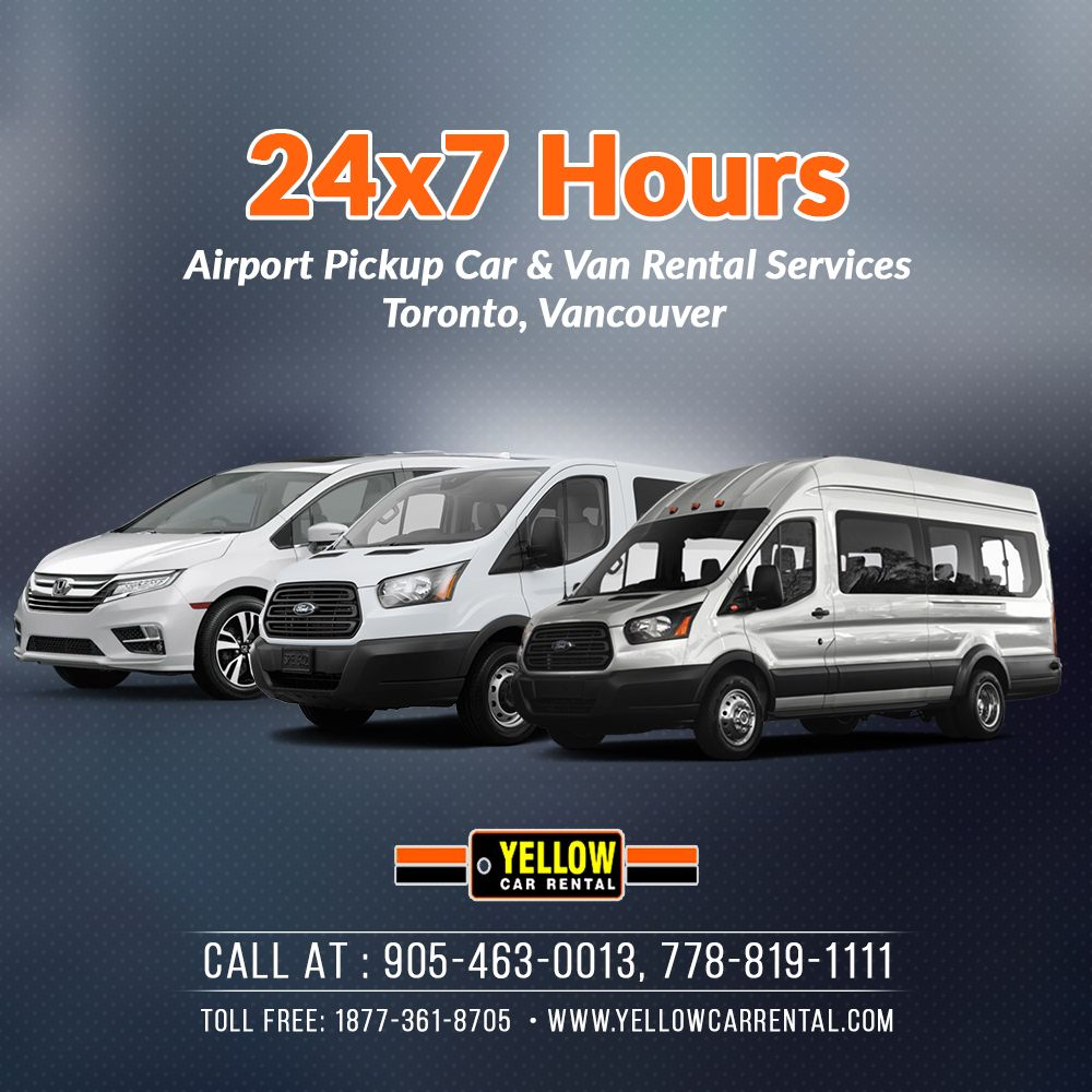 Rent 24x7 hours in Canada. in 2020 Car rental, Yellow