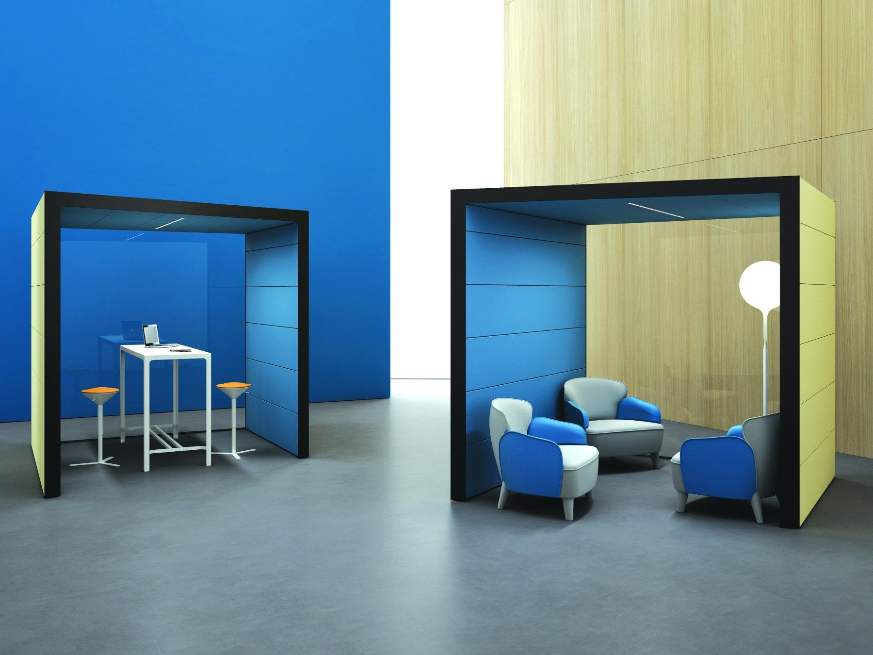 Estel Mobili ~ Acoustic office booth with built in lights pod by estel group