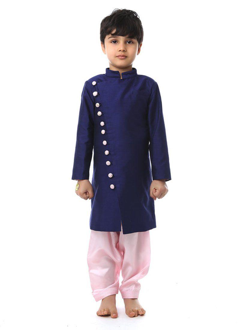 Charming Purple Silk Cotton Kurta Pyjama Kidswear Indian Indian