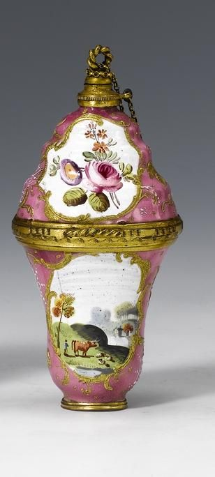 Yum....South Staffordshire perfume bottle and bonbon box, c. 1770.