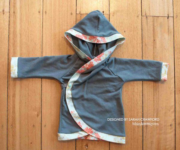 hooded baby kimono wrap jacket pdf pattern n hen f r. Black Bedroom Furniture Sets. Home Design Ideas