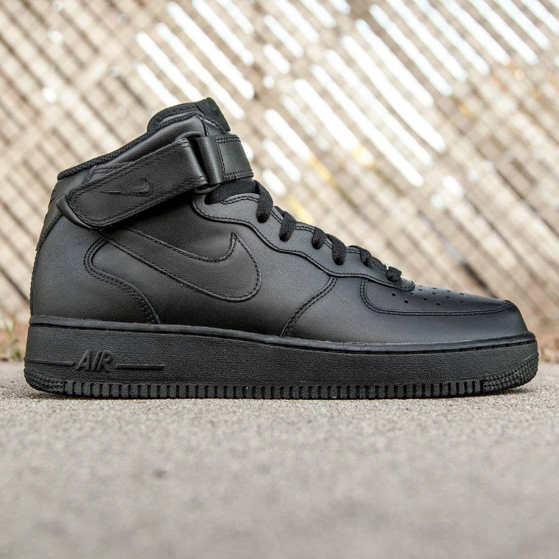 Nike Men Air Force 1 Mid 07 Black Black Mens Nike Shoes Nike Nike Air Force