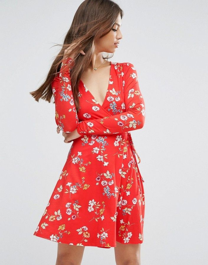 f0caa23d5a ASOS Wrap Tea Dress With Long Sleeves In Red Floral Print | Fall ...