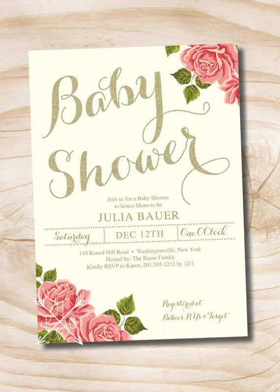 Gold and Floral Shabby Chic Baby Shower by PaperHeartCompany