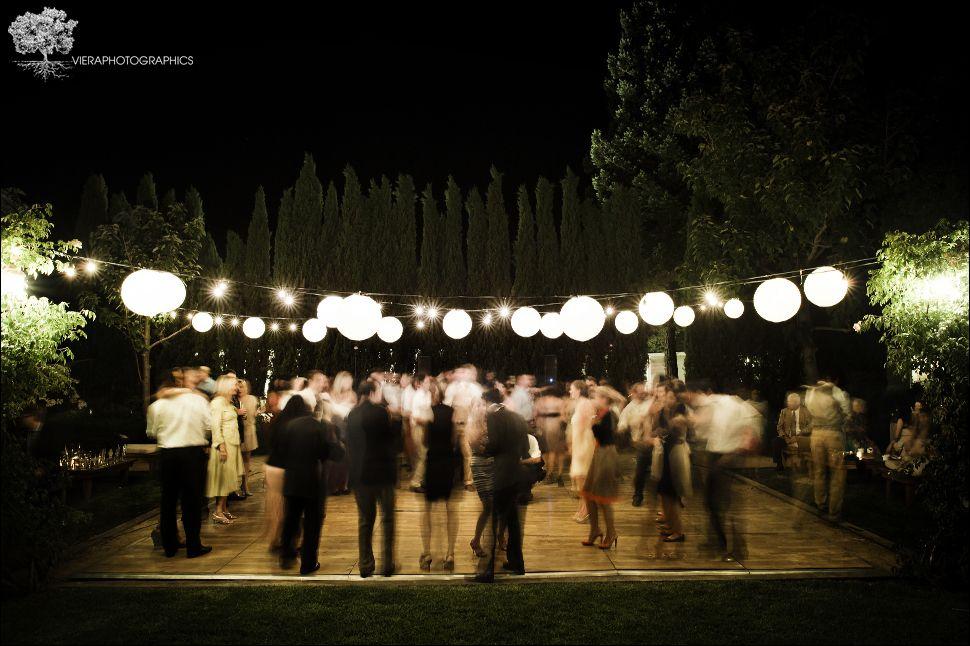 Outdoor dance floor lighting Wedding reception dance