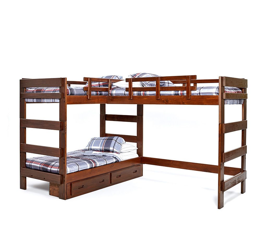 Heartland L Shaped Triple Loft Bunk Bed 3 Person Bunk Beds