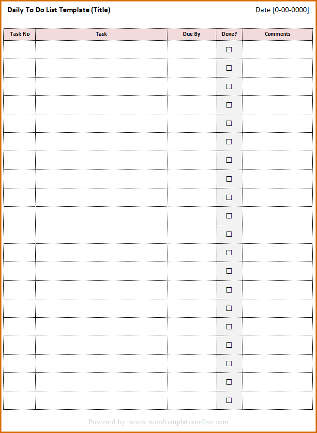 Daily To Do List Template Microsoft Word Templates 649 X 888 Png 6kb