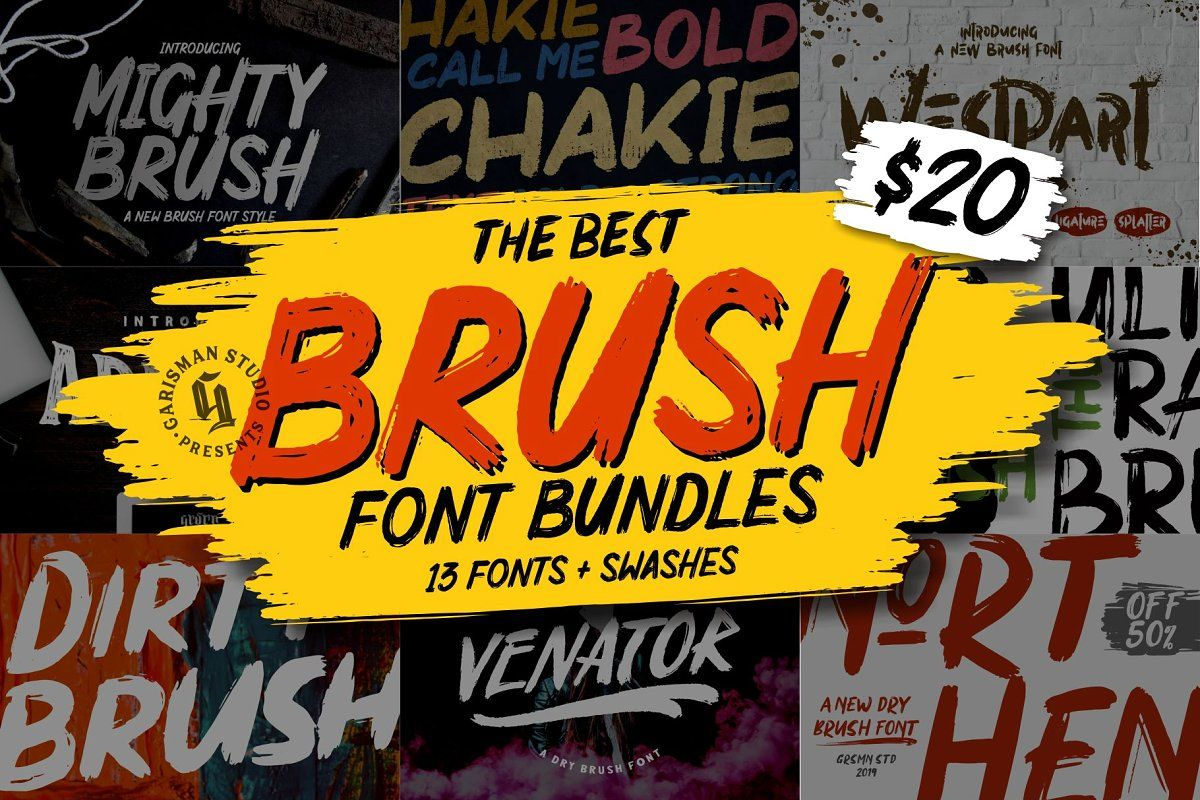 Ad Save 20 Brush Fonts Bundle By Garisman Std On