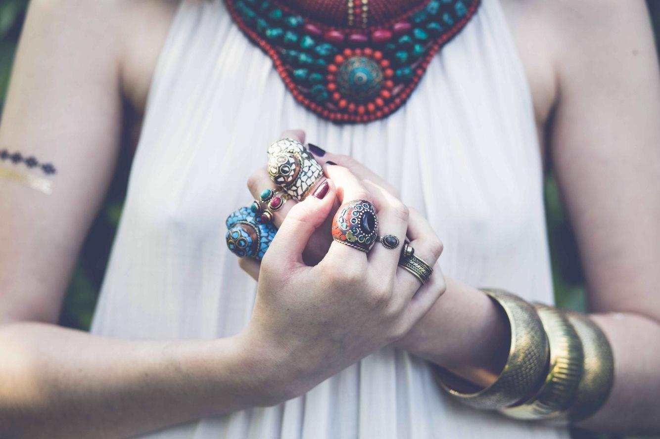 Boho rings by Almudena Dorado  www.almudenadorado.com
