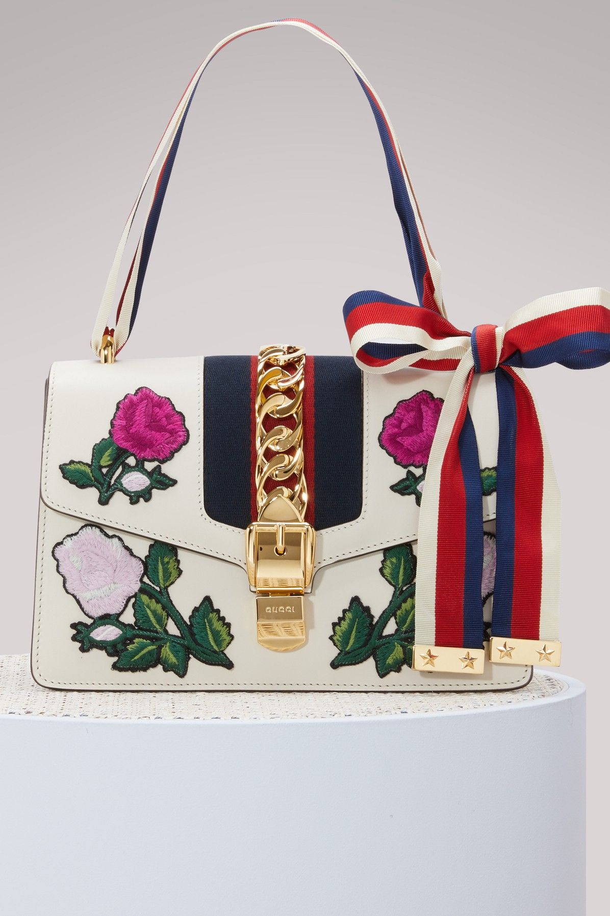 01974d25e GUCCI SYLVIE EMBROIDERED LEATHER SHOULDER BAG.  gucci  bags  shoulder bags   leather