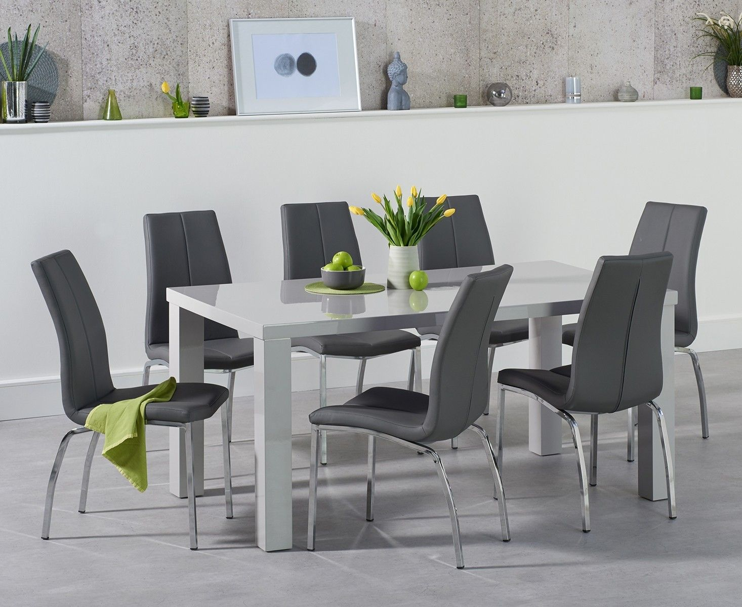 Attrayant Atlanta 160cm Light Grey Gloss Dining Table With Cavello Chairs
