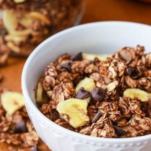It's possible to enjoy Nutella without going into a sugar coma. Whip up some homemade granola with bananas, almonds, cinnamon and yup, a decadent touch of Nutella.
