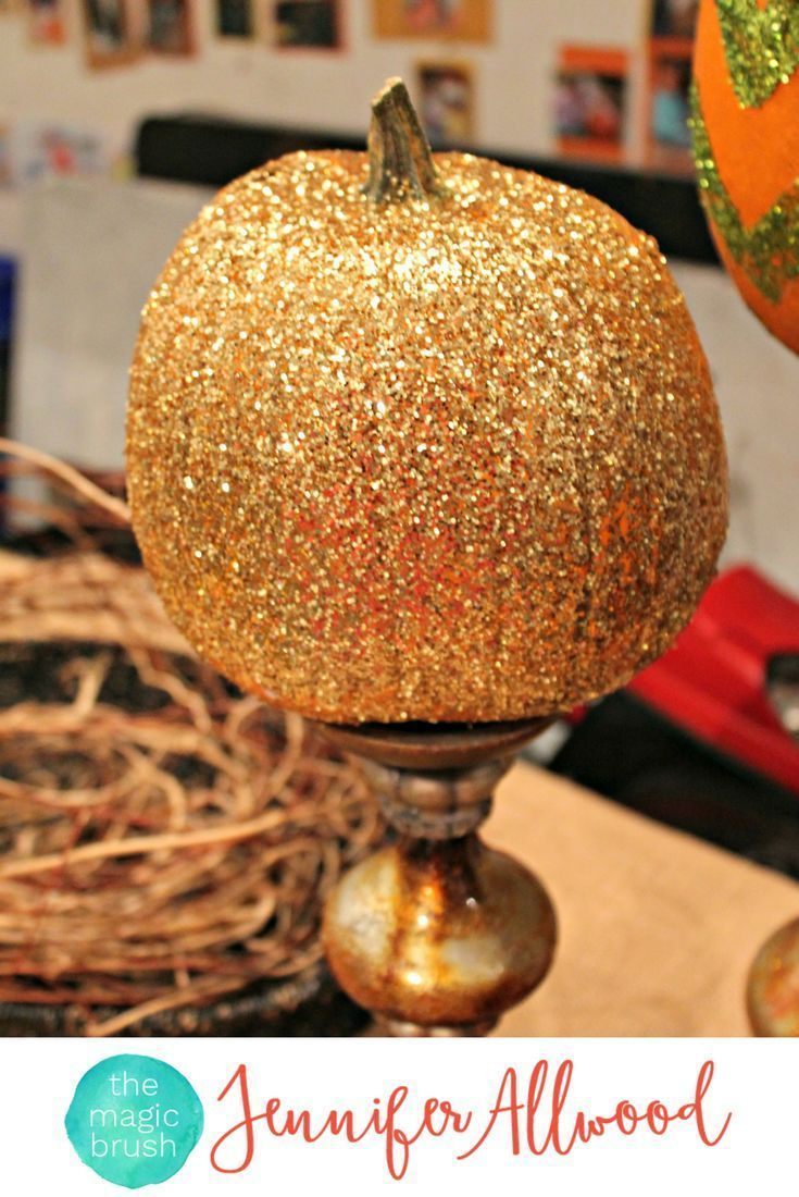 How to's : Gorgeous Gold Glittered Pumpkin on a candlestick as fall decor. How to make Glitter Pumpkins easy tricks by theMagicBrushinc.com Cute pumpkin decorating ideas. #pumpkin #pumpkineverything #fall #falldecor #homedecor #glitter #diy #diyhomedecor #howto