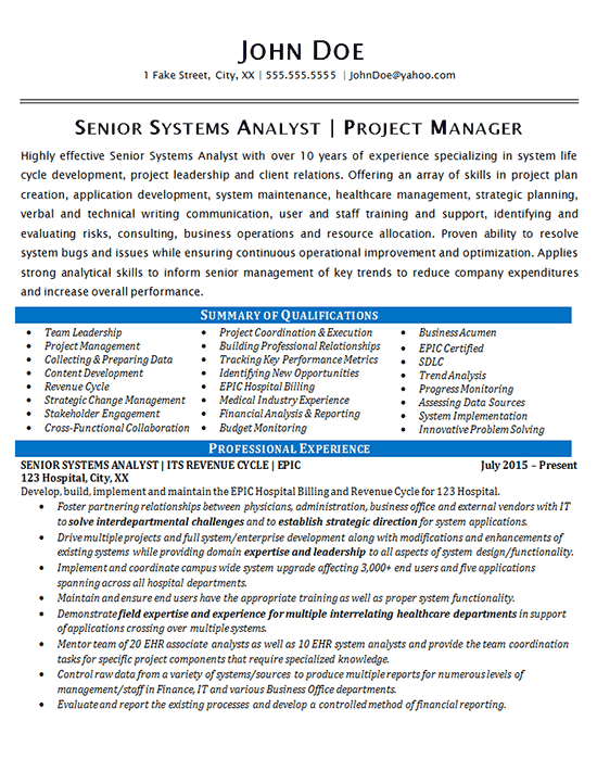 Systems Analyst Resume examples, Resume, Life cycles