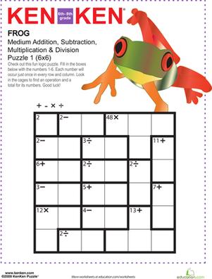math worksheet : frog kenken?? puzzle  middle school maths math worksheets and  : Middle School Math Puzzle Worksheets