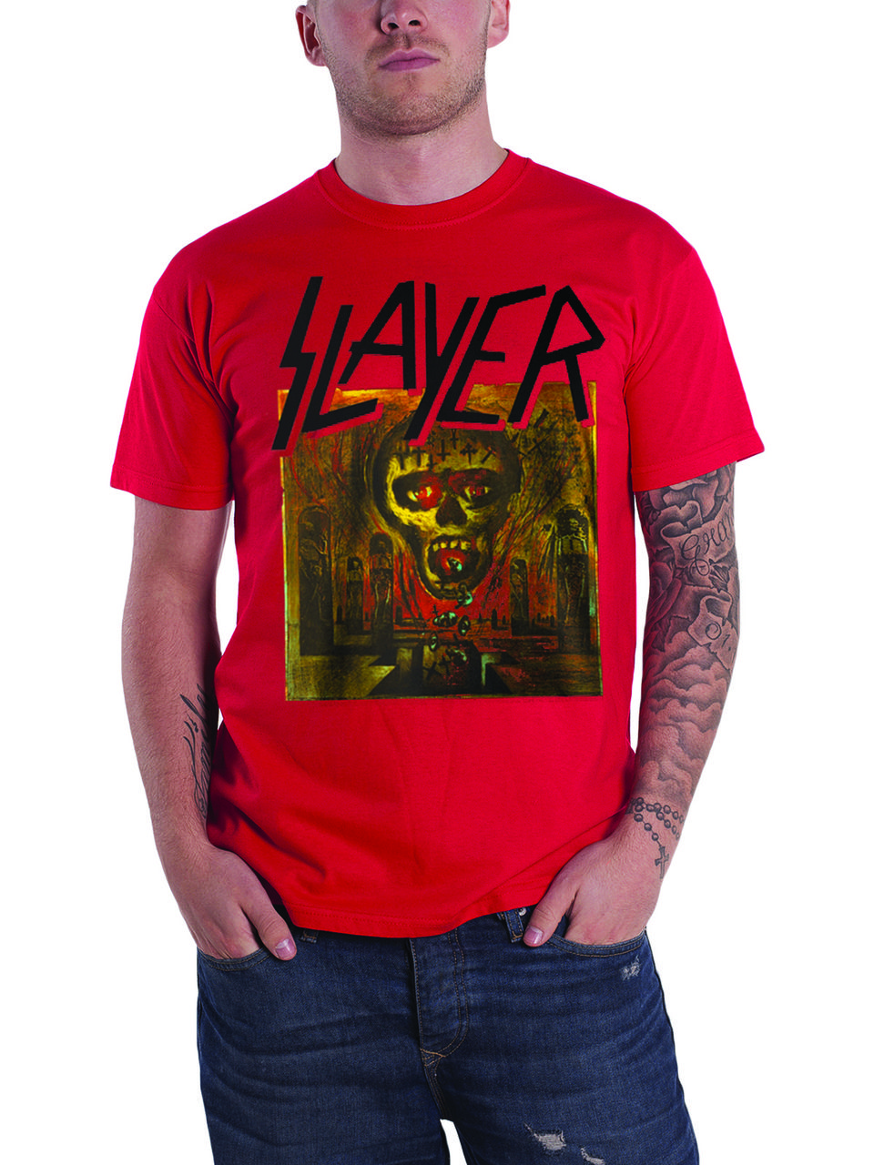 2607aa1af Slayer T Shirt Seasons In The Abyss band logo Mens Red - Paradiso Clothing