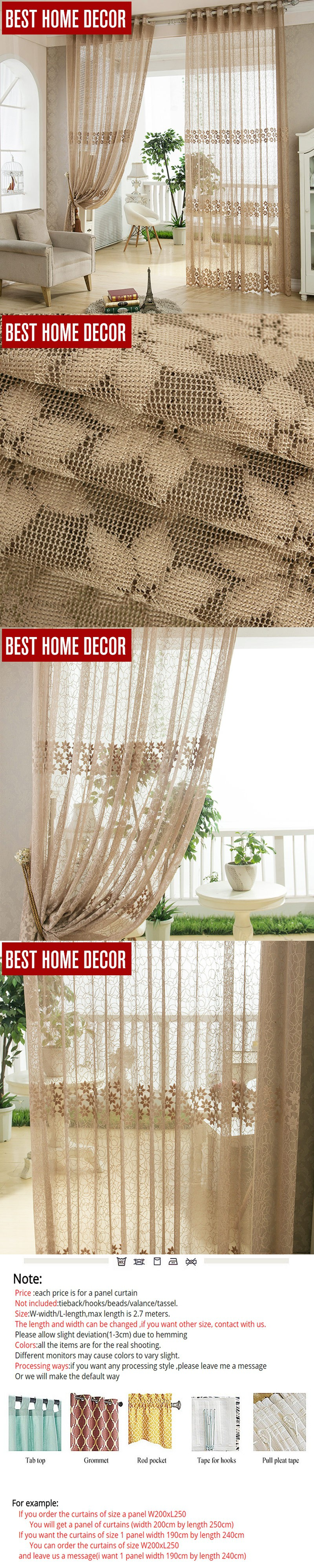 Best home decor tulle sheer window curtains for living room the