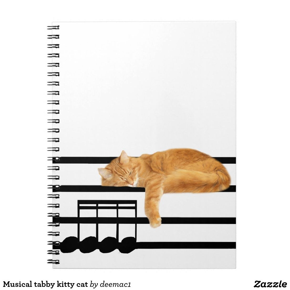 Musical tabby kitty cat notebook