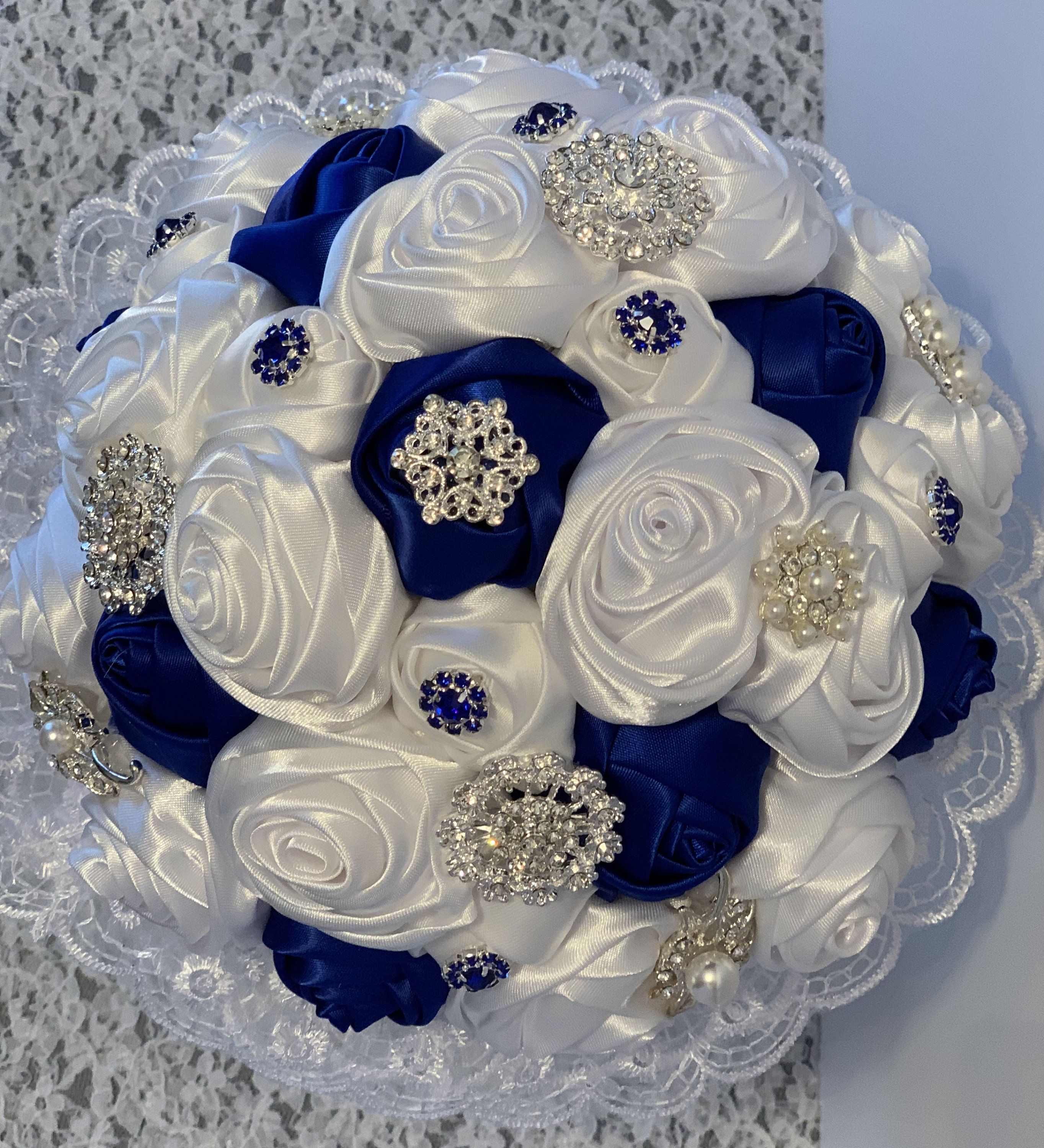 Crystal And White Wedding Theme: BROOCH BOUQUET And Boutonniere, Quinceanera Bouquet, White