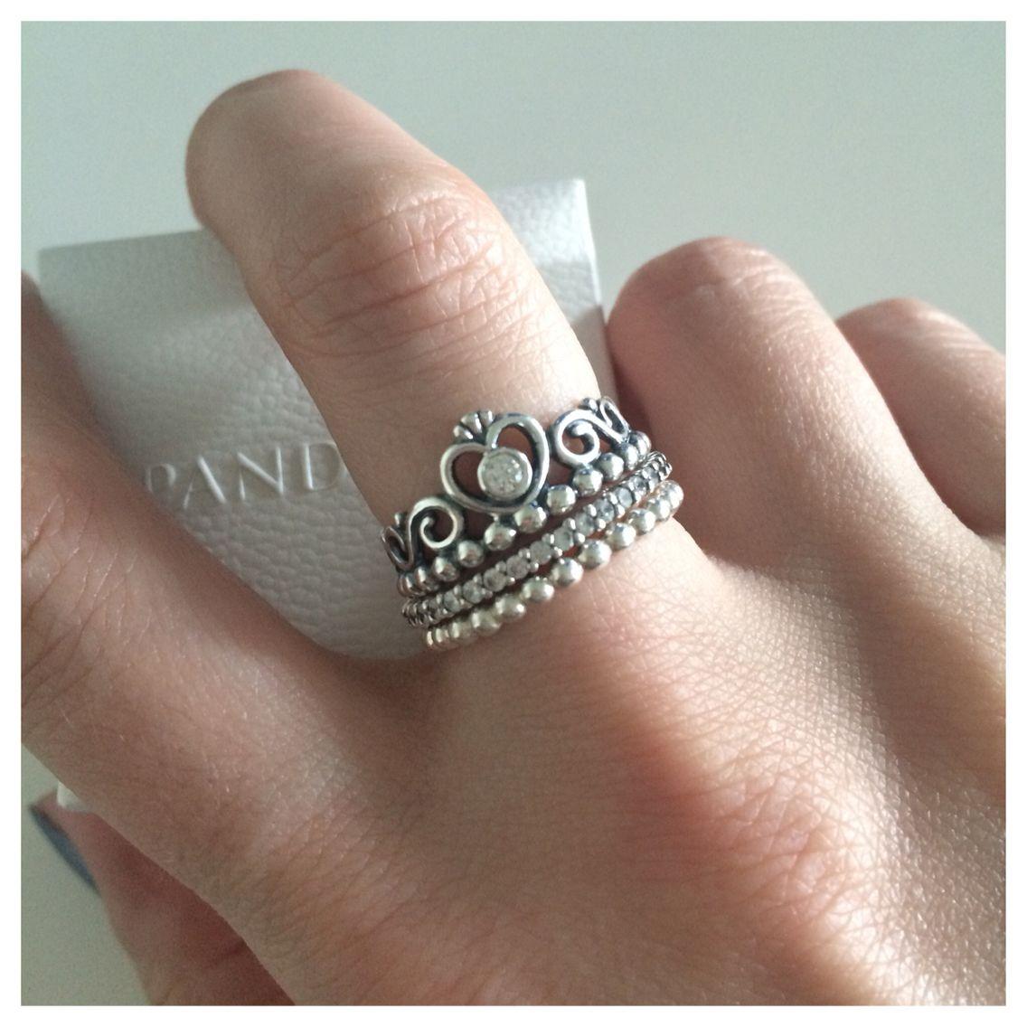 Pandora Princess Ring Stacked With 2 Small Pandora Rings