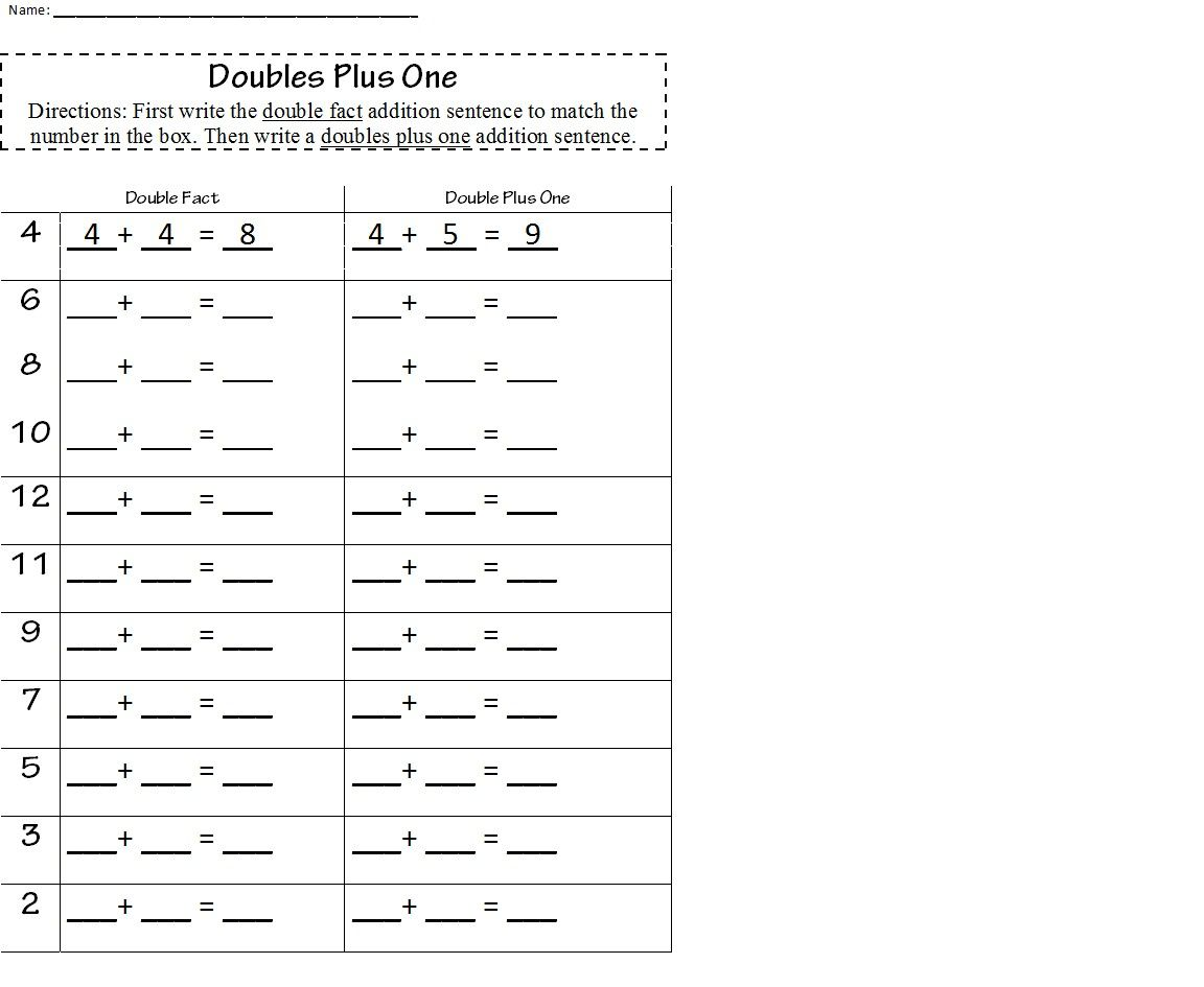 4 Worksheet Free Math Worksheets First Grade 1 Adding Doubles Plus 1 Doubles Plus One Workshe Free Math Worksheets Math Worksheets 1st Grade Math